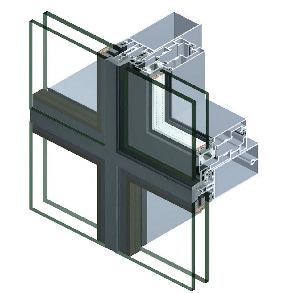 сегмент стоечно-ригельного остекления фасада